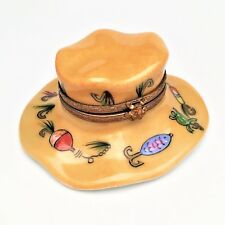 RARE Fly Fisherman's Limoges Trinket Box w/ Frog Clasp, Lures & Bait-Signed