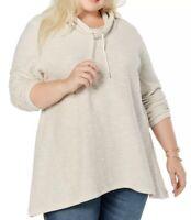 SIZE 1X Style & Co Women's Plus Shark Bit Hem Tunic Sweatshirt Shirt Top NWT New