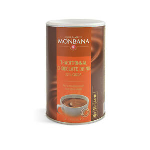 Monbana Traditional Chocolate 32% Luxury Quality Hot Chocolate 6 x 1Kg Tub Drum
