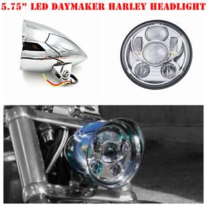 """5.75"""" Chrome LED daymaker bullet headlight Harley breakout rocker FXSB FXCW"""