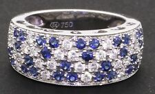 18K white gold 1.36CTW VS2/G diamond & Blue sapphire cluster band ring size 6.25