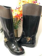 Michael Kors Fulton Harness Two Tone MK Gold Logo Rubber Rain Boots Sz 9