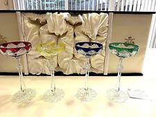 "Nib Signed Faberge Czar "" Multi- Color Champagne Saucer Glasses Set of 4"