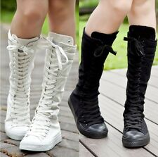Women Canvas Sneaker Punk Tall Mid Calf Lace Up Knee High Flat Boot Skater Shoes