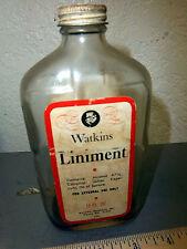 Vintage Watkins Liniment bottle, notice how high the alc content is!, 12 oz bott