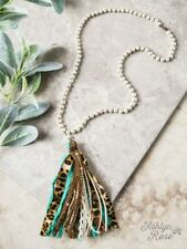 NEW TEAL TURQUOISE BEIGE LEOPARD LACE TASSEL NECKLACE WITH PEARL BEADS