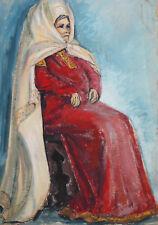 Vintage gouache painting theatre folk costume design woman portrait