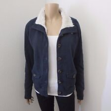 Abercrombie Womens Sherpa Fur Lined Button Up Jacket Size Medium Turtleneck