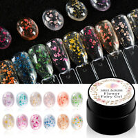 MEET ACROSS 5ml Nail Gel Polish Natural Dried Flower Floral UV Gel Varnish Set