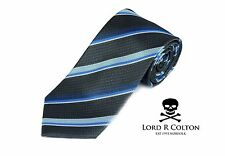 Lord R Colton Studio Tie - Charcoal & Blue Stripe Necktie - $95 Retail New