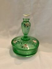 Green Powder Jar with Perfume Top with Painted Flowers