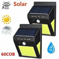 4pcs 60LED Solar Powered Security Light Motion Sensor Outdoor Garden Wall Lamp
