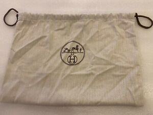 "HERMES Drawstring Dust Bag Off White Herrigbone pattern 10""High 12""Wide"