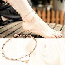 New Charm Rose Gold Anklet Love Bracelet Sandal Beach Double-deck Foot Jewelry