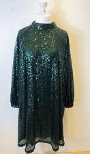 New H&M Size 4XL Emerald Green Sequin Dress Balloon Sleeves A-Line Curvy