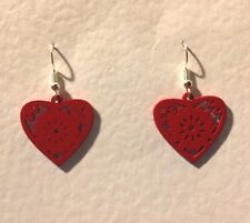 SMALL RED LASER CUT WOOD heart SILVER PLATED DROP EARRINGS hook