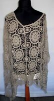 Mocha cotton crochet style poncho will fit any size
