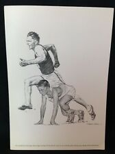 1960s Sports Print TRACK RUNNER Picture Robert Riger Drawing FRANK WYKOFF