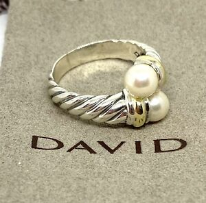 David Yurman DY 925 Sterling Silver 14K Gold Pearl Classic Cable Bypass Ring 7.5