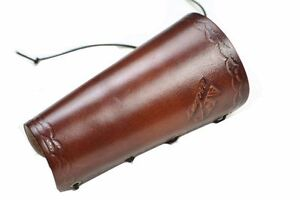 Archery Brown Leather Arm Guard Accessory Adjustable Outoor Shooting In Stock