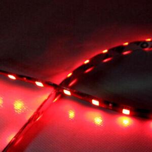 2X Red Car Decor 12V LED 30cm 5050 SMD Strip Flexible Contour Light Waterproof