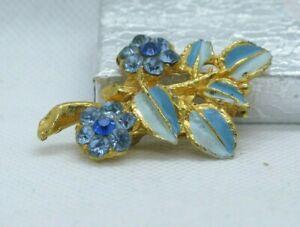 Vintage Mid 20th Century Enamel & Rhinestone Gold Tone Pin Brooch