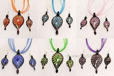wholesale 6set 3D Flower Leaf Murano Glass Pendant Silver P Necklaces Earring