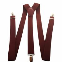 Mens Adjustable Braces 35mm Wide Trouser Belt Suspender Elastic Leather Clip on
