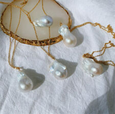 1pcs 15-22mm Natural White Baroque Shaped Pearl Necklace Pendant flawless luxury