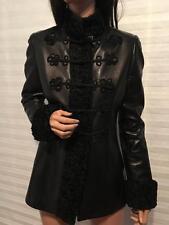NWT RALPH LAUREN Black Label Lamb Leather Faux Fur Trim Ornament Jacket sz 4