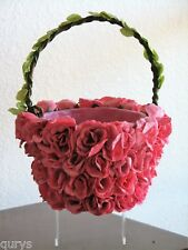 Pretty Pink Rose Covered 10 inch Basket - Perfect for Easter or Wedding
