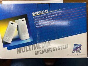 Vintage BRAND NEW Benwin PC Mac Multimedia Speaker System BW691H Windows 95 NIB