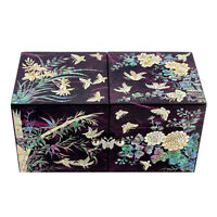 Mother of Pearl Black Wood Noble Plant Jewelry Treasure Trinket Box Chest Case