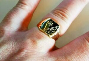 Diamond set solid gold signet ring, fully UK hallmarked 9ct Gold, Free post #Mp