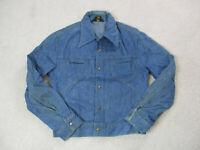 VINTAGE Lee Jean Jacket Adult Large Blue Denim Coat Rancher Trucker Mens 90s B1*