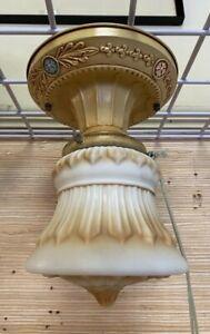 1905 Satin Embossed Globe Flush Mount ceiling Light Shade Fixture