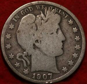 1907 Philadelphia Mint Silver Barber Half Dollar