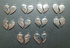 20 x Best Friends Pendant Keyring Charms, 11 x 18 mm, Jewellery Making, UK