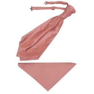 Plain Rose Gold Satin Men's Cravat Tie and Pocket Square Set Wedding Tie