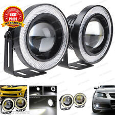 "2x Car 15W High Power 3"" Projector LED Fog Light COB WHITE Angel Eyes Rings"