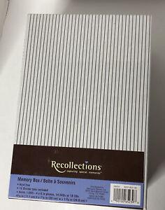 RARE Recollections BLACK & WHITE Striped KEEPSAKE Storage Shoe Photo MEMORY BOX