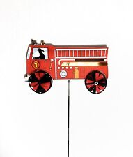 "Firetruck Decorative Wind Spinner [Red 24"" W x 45"" H - Windmill] - Judy's Flags"