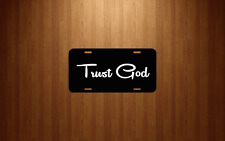 Trust God Black License Plate blessed pray christian religion lord