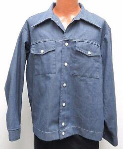 vtg Louisville BLUE TWILL WORK JACKET XL 70s usa chore White Snaps & Stitching