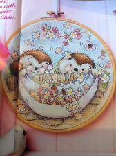 (B) Country Companions Ed And Edwina Hedgehog Spring Flowers Cross Stitch Chart