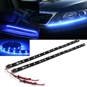 "2pcs 24"" 8000K Ultra Blue 30-SMD LED Strip Lights For DRL Fog Light Door Lights"