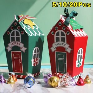 5-20x Christmas Gingerhouse Party Paper Favour Candy Sweets Bag Xmas Gift Boxes