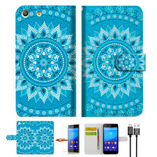 Blue AZTEC TRIBAL Wallet Case Cover For SONY XPERIA M5 -- A001