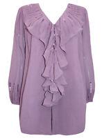 Roamans blouse top shirt plus size 14 20 22 24 26 28 32 purple ruffle embellish
