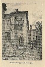 Stampa antica VALTELLINA villaggio di montagna Sondrio 1885 Old antique print